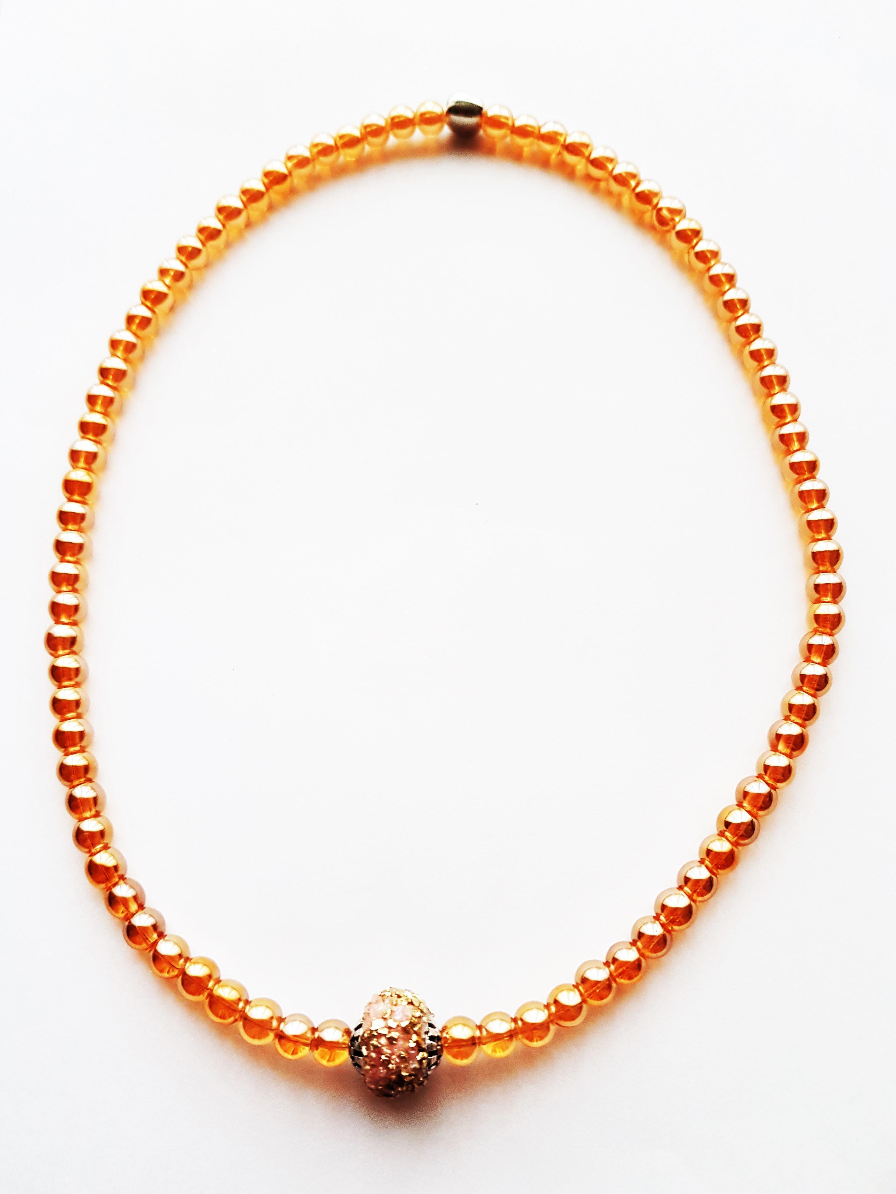 Halskette,Glasperlen,gold