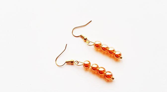 Ohrringe,Glasperlen,gold